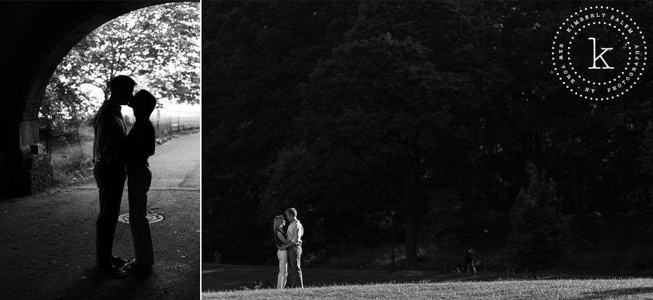 engaged couple - in Prospect Park - tunnel silhouette and landscape