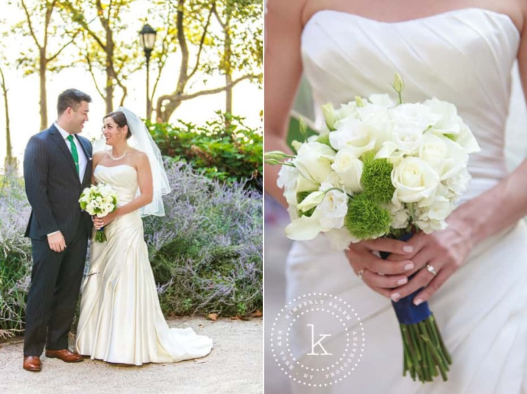 bride and groom in Battery Park and bouquet detail