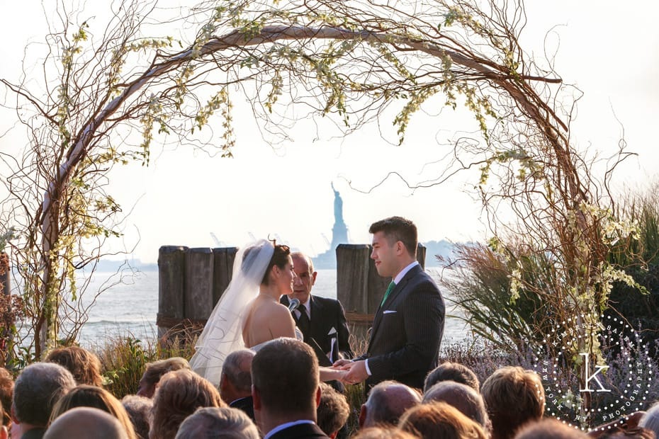 Battery Gardens outdoor wedding ceremony - Statue of Liberty