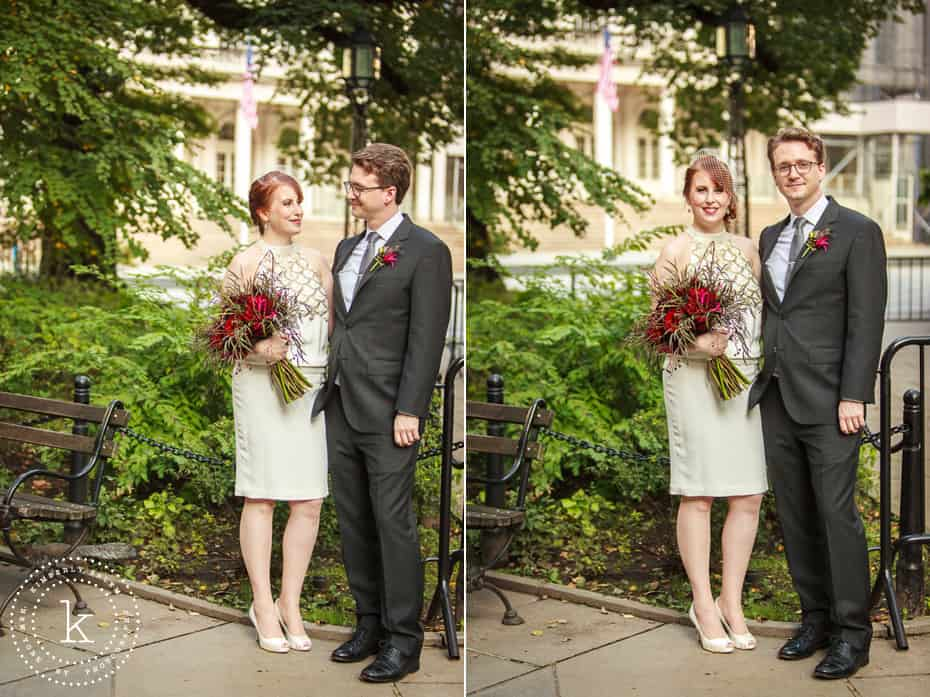 bride and groom portraits by NYC city hall