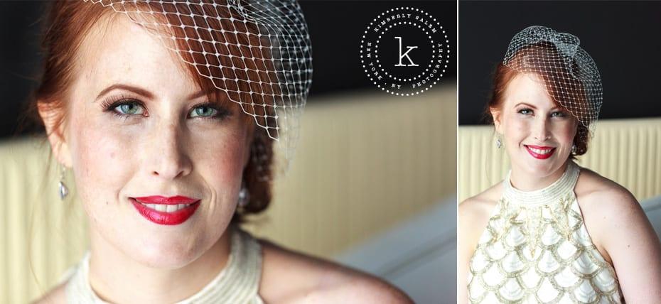 bride portrait - birdcage veil