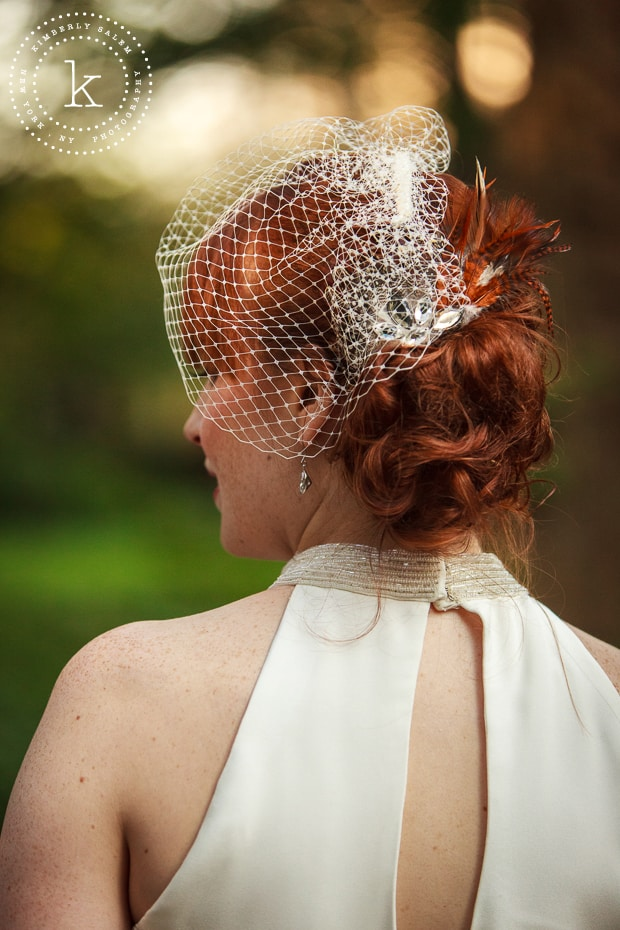 detail of bridal hairpiece