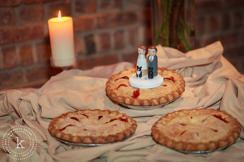 wedding pies with bride and groom topper