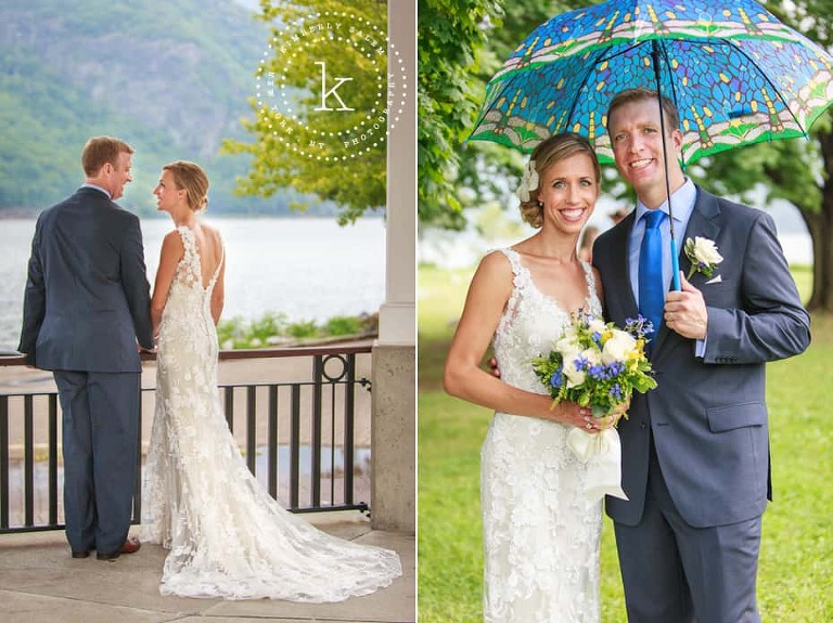 Bride and Groom - wedding gown detail and blue umbrella