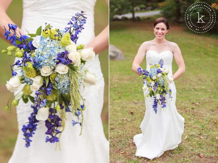 bride with bouquet - blue hydrangea, purple, white roses