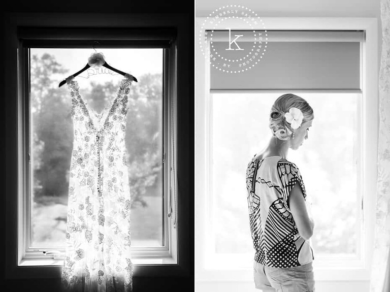 Lace wedding gown with Bride hanger and bride in window