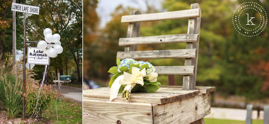 Lake Katonah sign and hydrangea bouquet on lifeguard stand