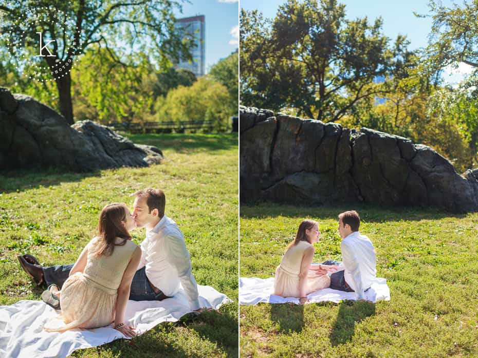 dyptich of engaged couple sitting by a rock in central park
