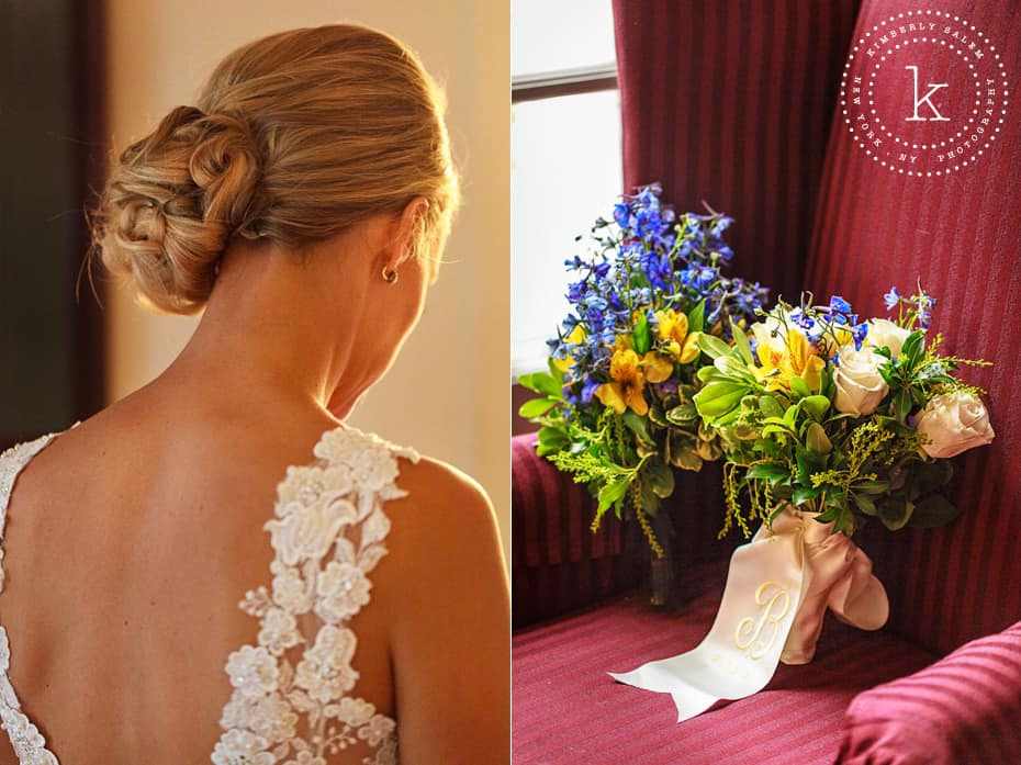 Bridal hair detail and bouquets