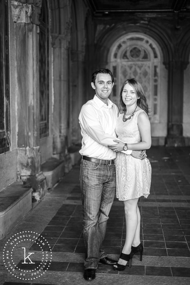 engaged couple at Bethesda Terrace lower passage in Central Park