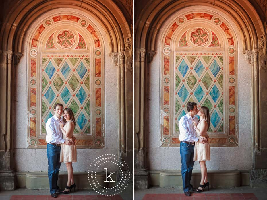 engaged couple at Bethesda Terrace lower passage in Central Park - diptych