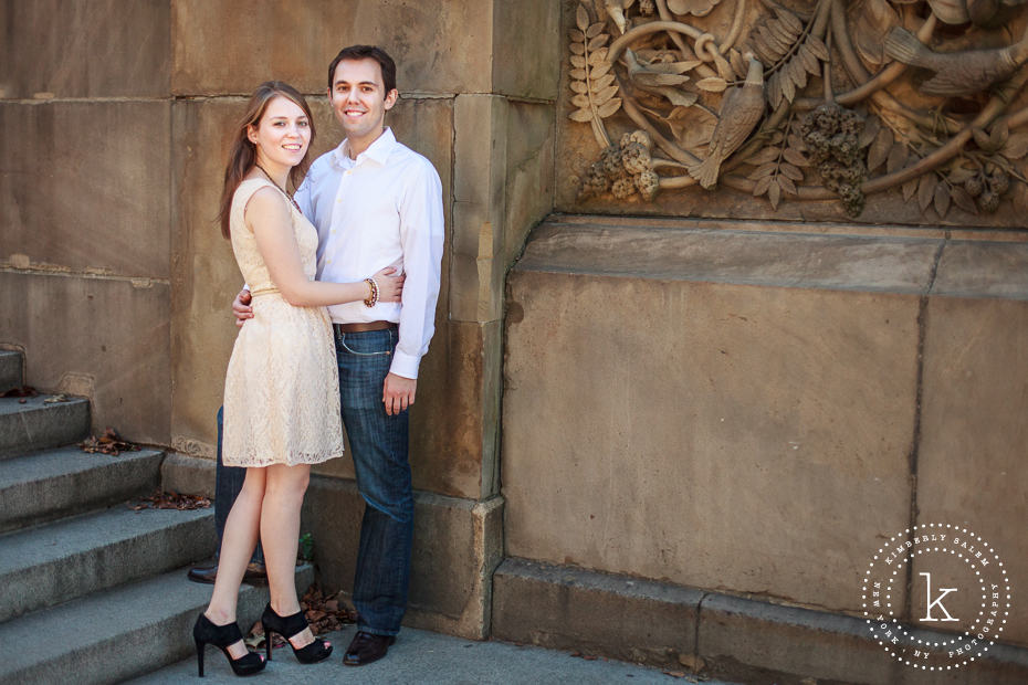 engaged couple portrait - showing off high heels