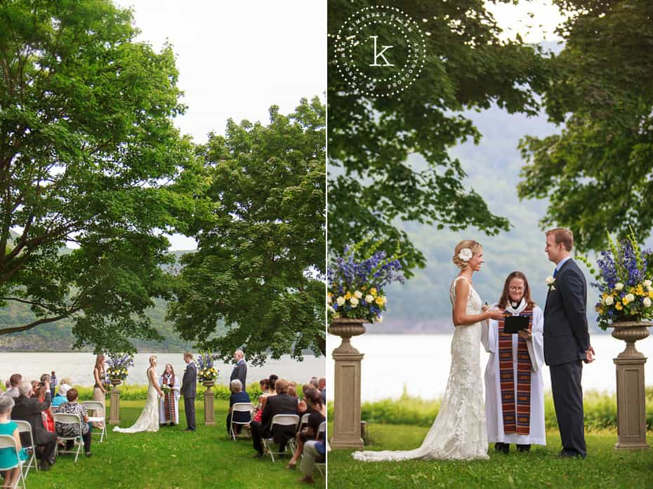 Wedding ceremony by the Hudson River under trees