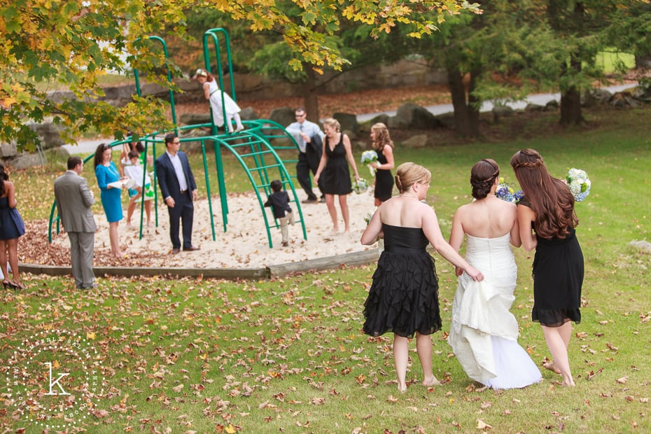 Bride and bridesmaids heading to playground