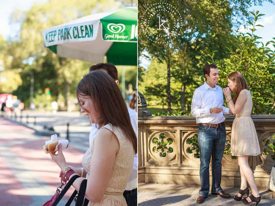 central park engagement - couple eating hot dog
