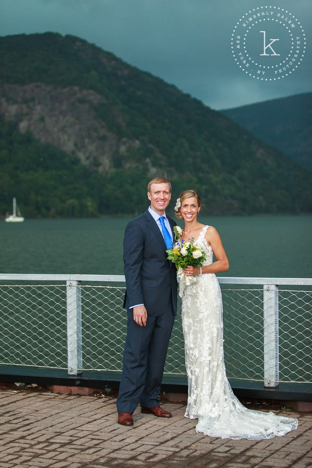 Bride and groom with Hudson River in background - about to storm