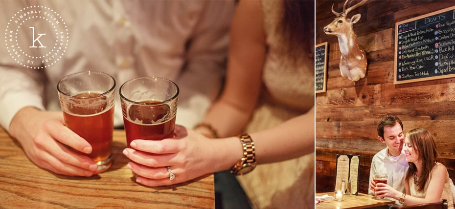 engaged couple at The Stag's Head in NYC - detail of beers with engagement ring