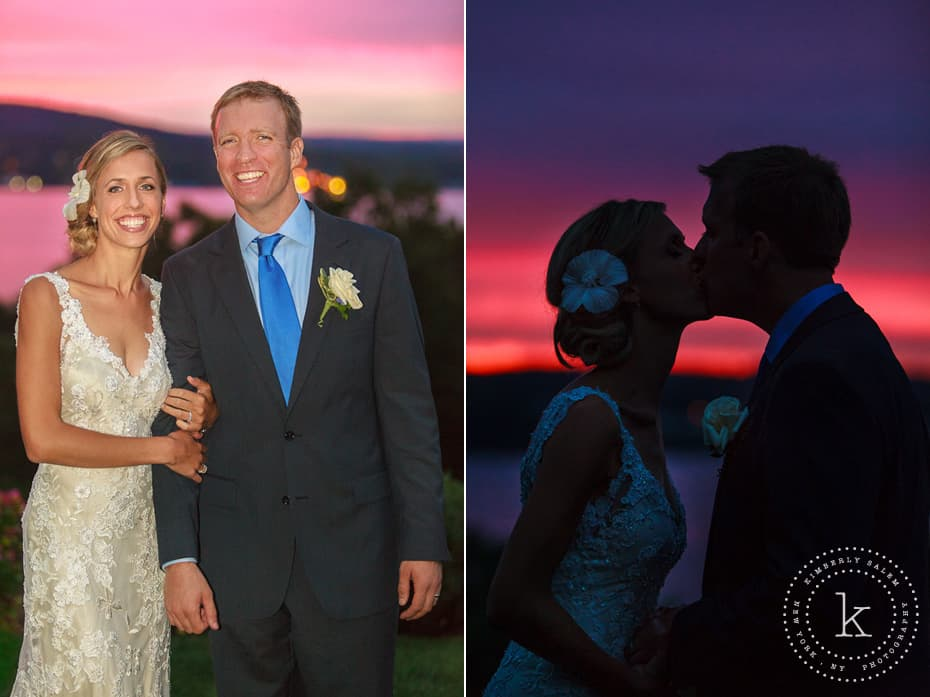 Bride and groom in front of brilliant sunset on the Hudson River - silhouette diptych