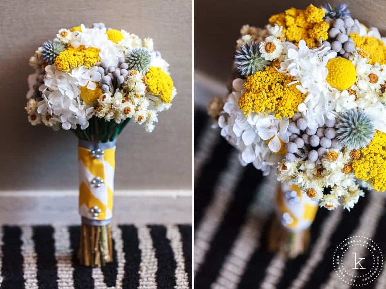yellow and grey dried bouquets - chevron wrap