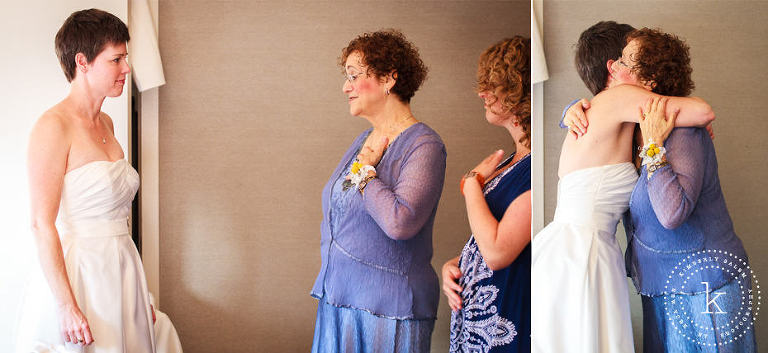 bride and her mom, after she has first put on the dress