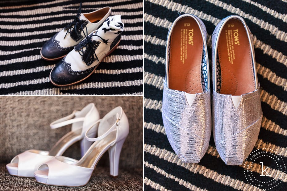 wedding shoes - oxfords, heels and sparkly Toms