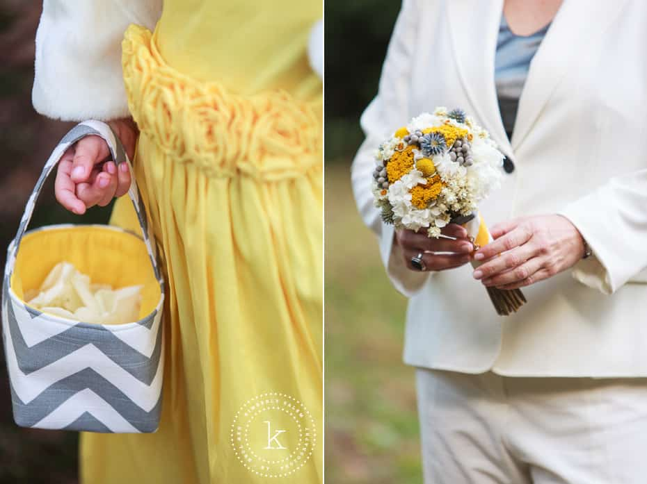 wedding details - flower girl and bridal bouquet
