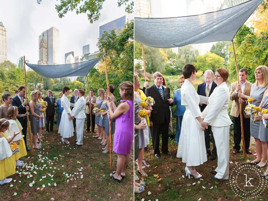two brides married in Central Park under grey handmade chuppah (diptych)