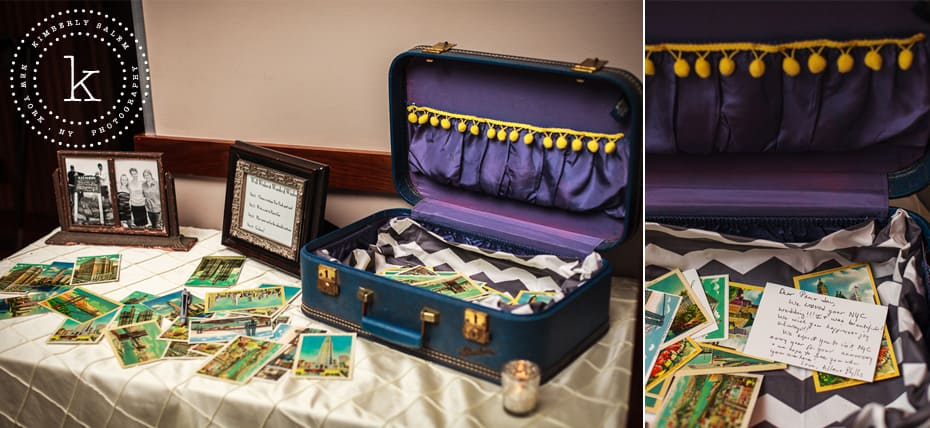suitcase setup with postcards as wedding guest book