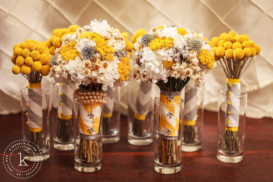 two bridal bouquets and bridesmaid bouquets