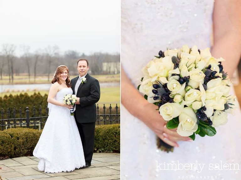bride and groom at country club and bouquet detail