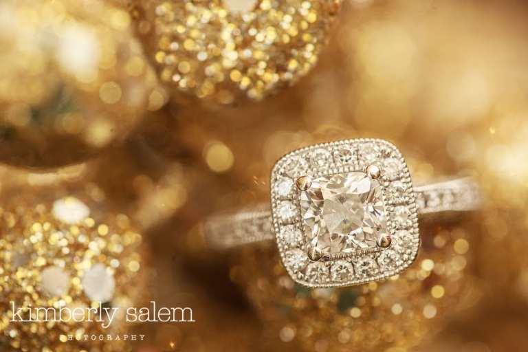 engagement ring - platinum - pave - gold bokeh