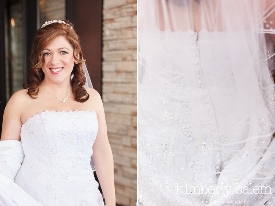 bridal portrait and dress detail