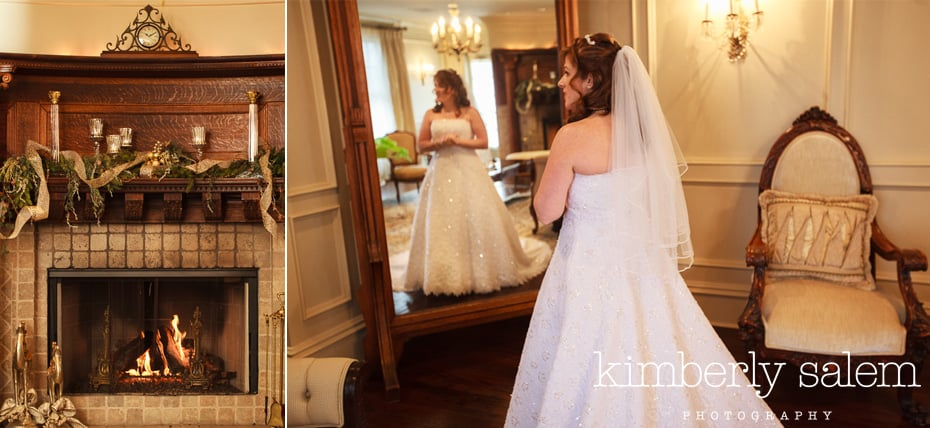 bride getting ready with fireplace detail