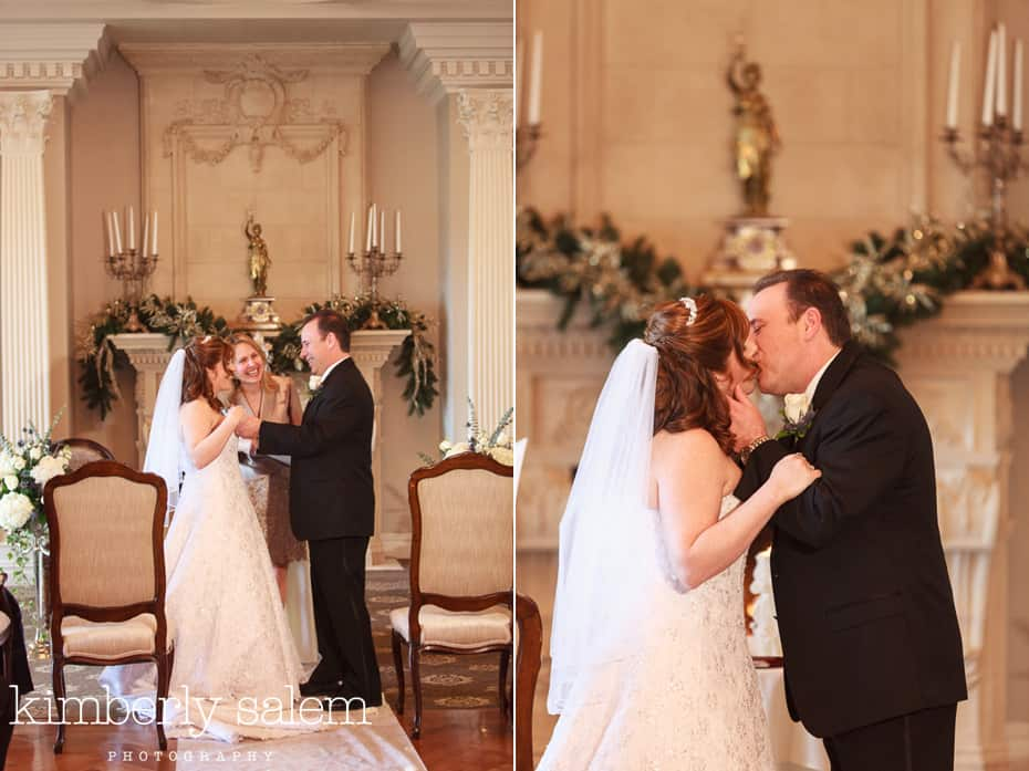 wedding ceremony - bride and groom - first kiss