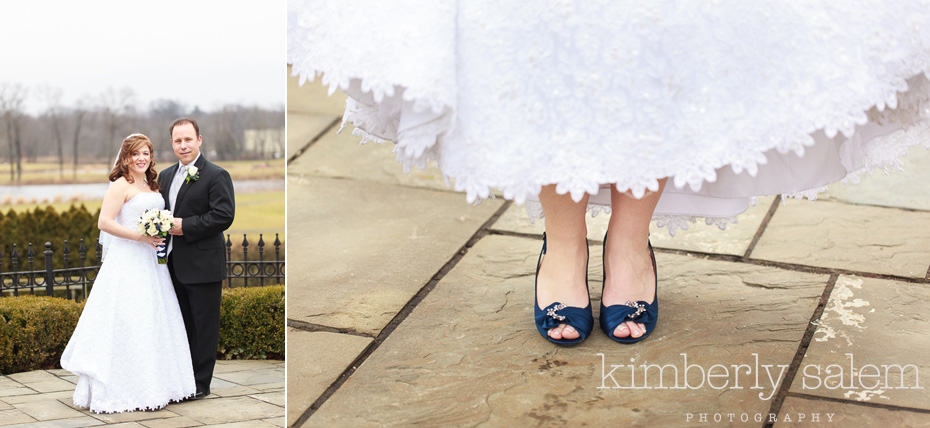 bride and groom portrait with navy blue shoe detail