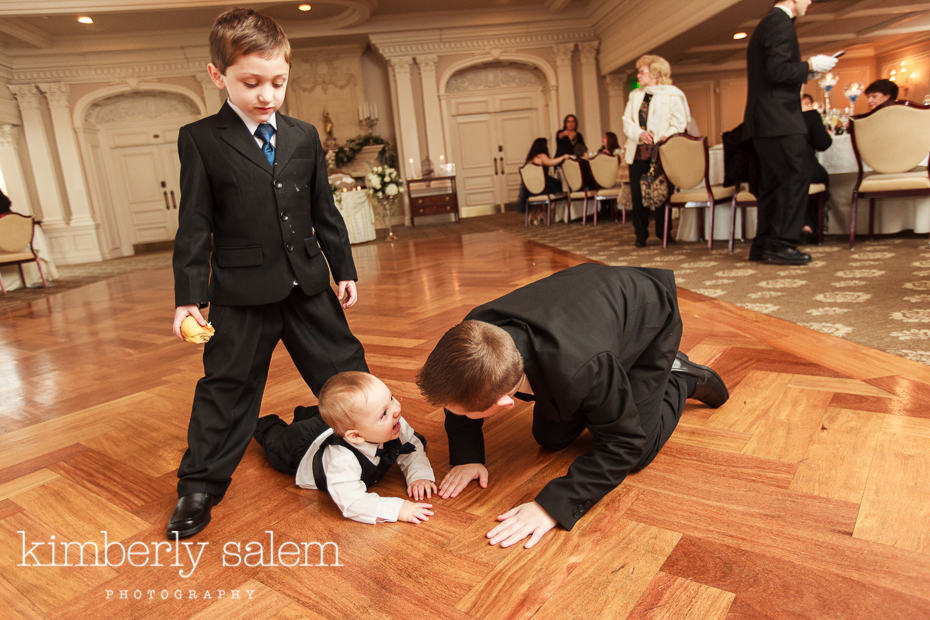 young boys having fun on the wedding dance floor