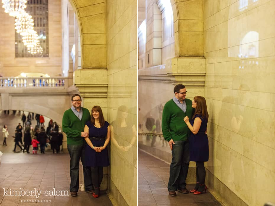 engaged couple in Grand Central - diptych