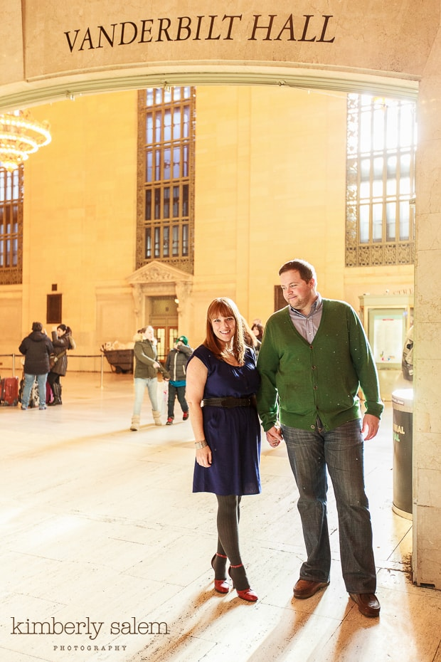 engaged couple in grand central station