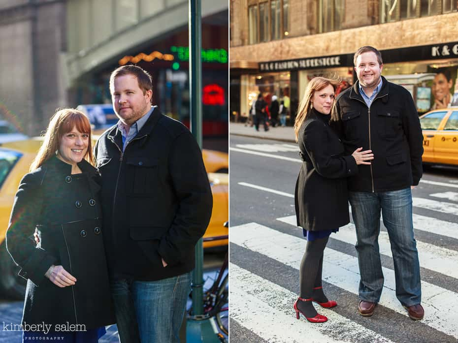 engaged couple in nyc outside of Grand Central Terminal