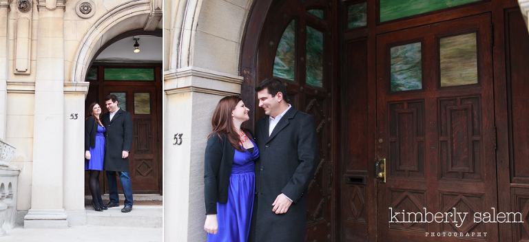 engaged couple at the Society for Ethical Culture building in Brooklyn