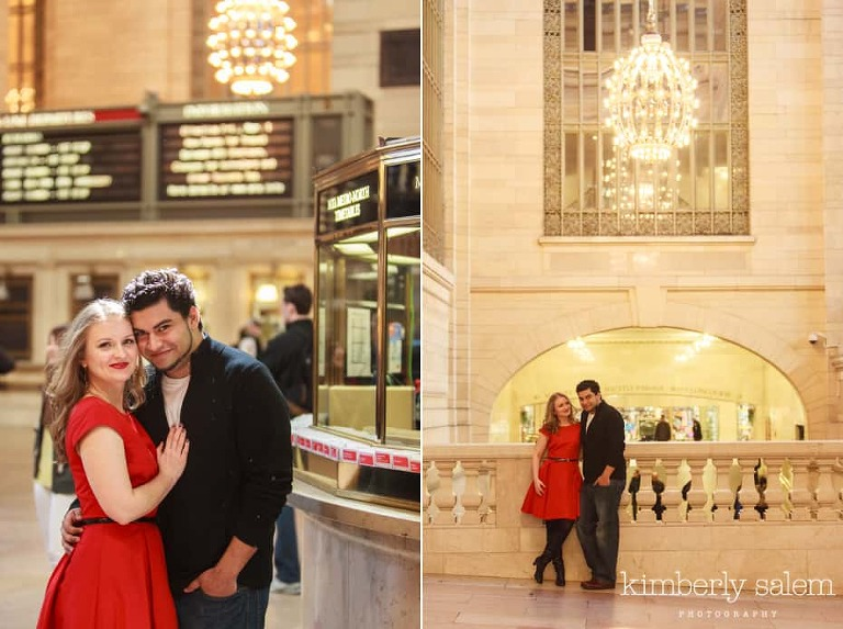 engaged couple in Grand Central Terminal NYC