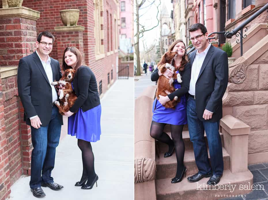 engaged couple with their puppy