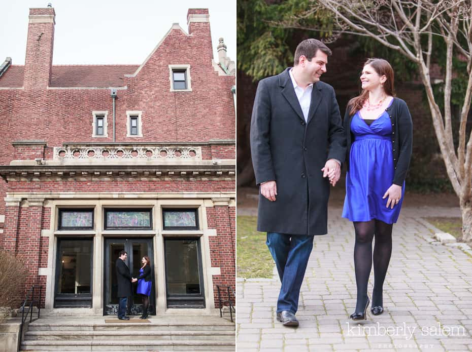 engaged couple at the society for ethical culture building