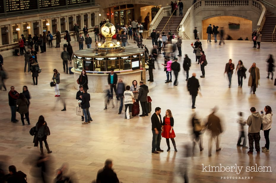 engaged couple on the main floor of Grand Central NYC