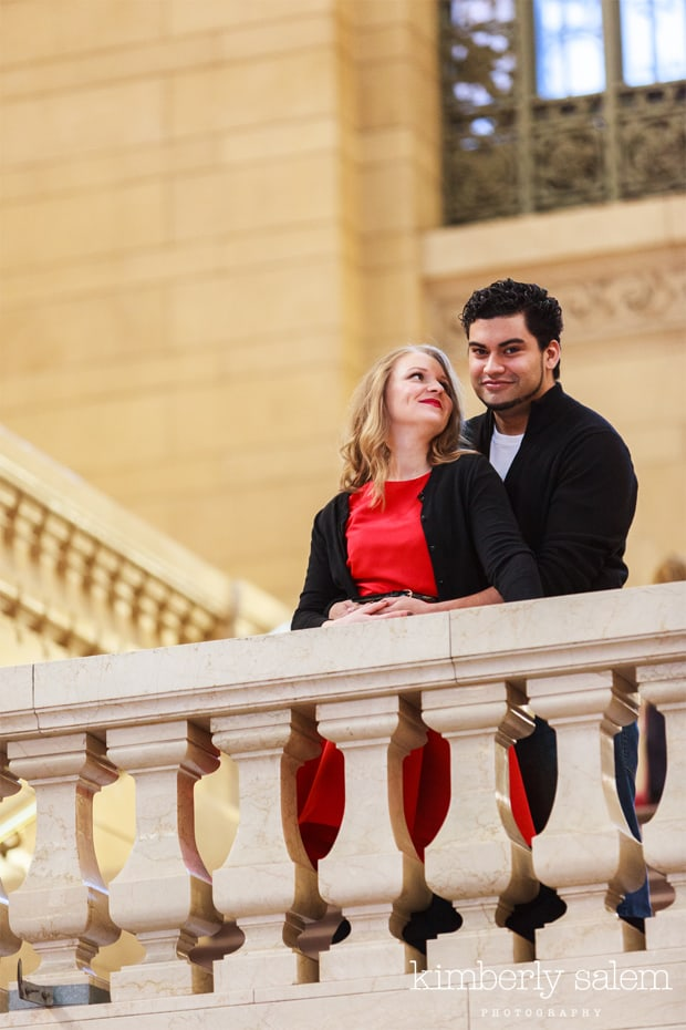 engaged couple on balcony in Grand Central NYC