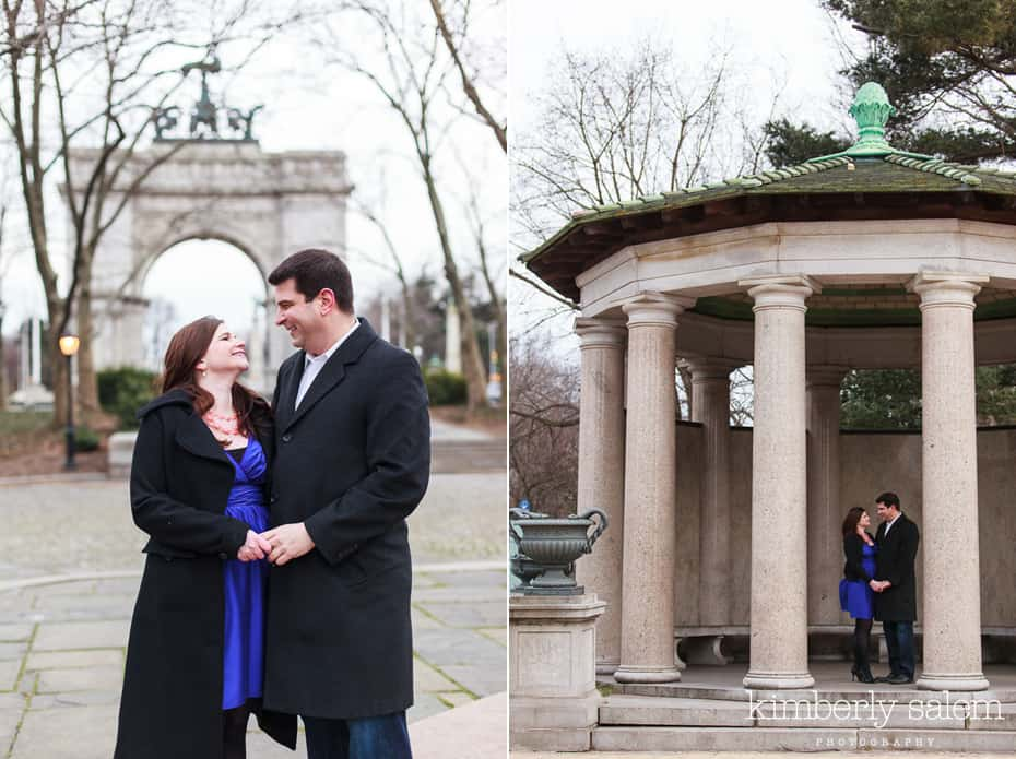 engaged couple at Grand Army Plaza