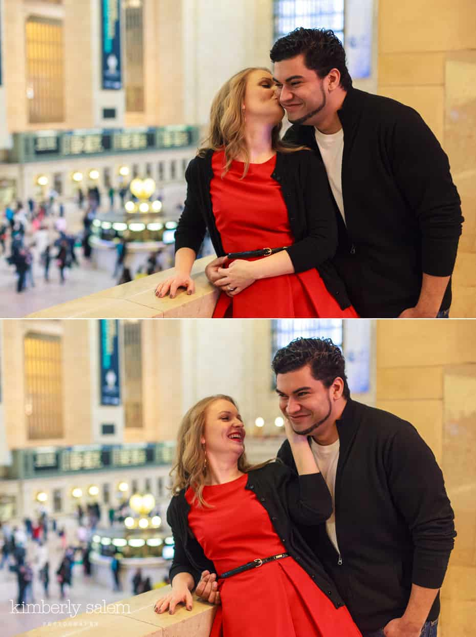 engaged couple in Grand Central - having fun on the balcony