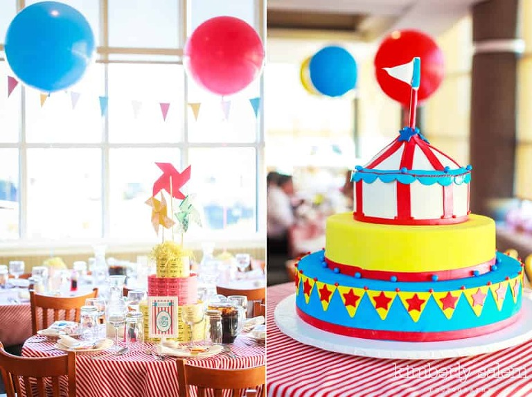 First birthday carnival theme cake and raffle ticket centerpiece
