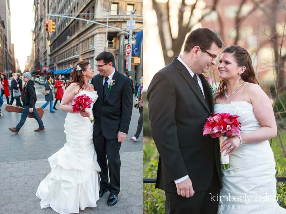 bride and groom in Union Square