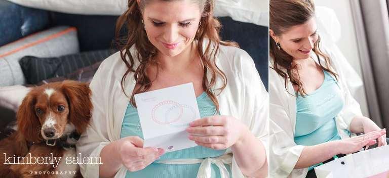 bride receiving gift from her groom